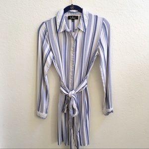 Super Soft Lulu's Blue & White Striped Shirt Dress
